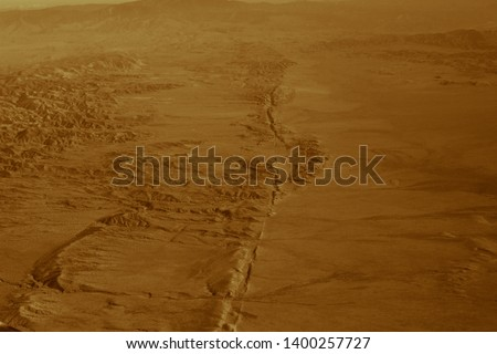 The san andreas vault line reason for so many earth quakes is good visibly in the dried out planes, desert #1400257727