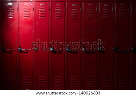 Image of a row of lockers with dramatic lighting Royalty-Free Stock Photo #140026603