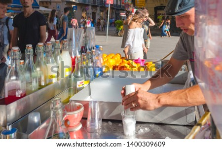 Palermo, 12 August 2016 - ITALY: characteristic cart for the preparation of drink with crushed ice and syrup #1400309609