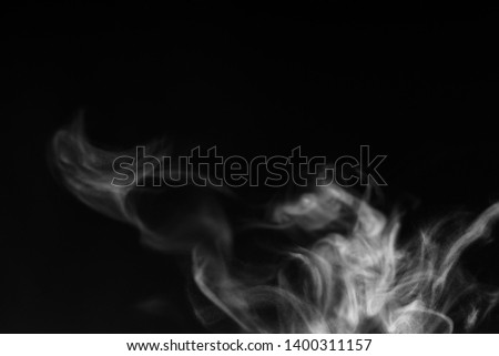 white smoke overlay effect on solid super black background. Nature motion smoky steam wave abstract environment pollution, cloud, cigarette, gas, dry ice, chemistry, factory and ghost concept #1400311157