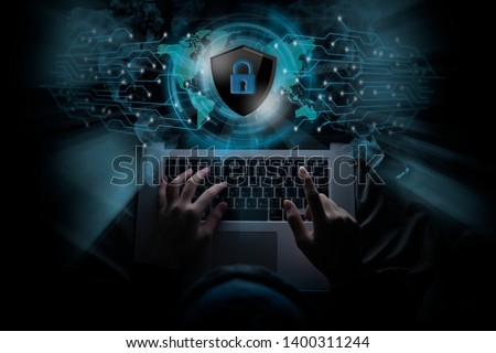 Hackers are using his laptop to hacking system Try to elicit information Private of people on the internet. Concept of Tragedy and Online Secret Defense #1400311244