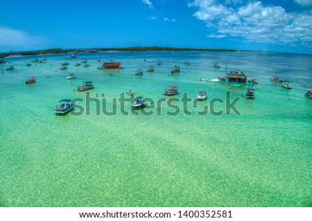 Aerial Close-up of Crab Island, Destin Florida Royalty-Free Stock Photo #1400352581