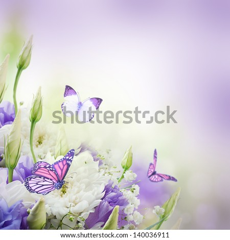 Bridal bouquet from white and pink flowers,  butterfly