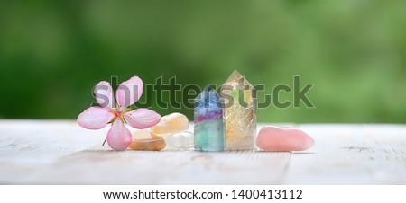 fluorite, citrine, pink quartz and flower. gemstones crystal minerals for relaxation and meditation. Crystal Ritual, Prosperity, Healing Crystals. banner, copy space