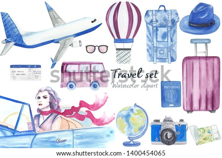 Watercolor travel set clip art. Hand drawn and hand painted illustrations are great for adventure diaries, travel books, scrapbooking and postcards. High resolution, 300 dpi.