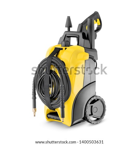 Yellow Black Electric High Pressure Washer Isolated on White. Power Washing Machine. Outdoor Power Equipment. House Cleaning Tool. Domestic Major Appliances. Home Appliance. Pressurized Water Jet #1400503631
