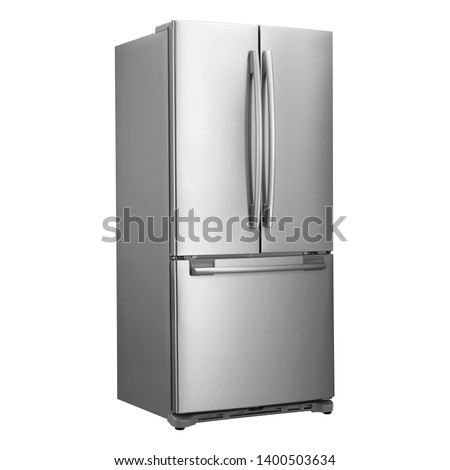 Three Door Refrigerator with Food Isolated on White Background. Side View of Stainless Steel Counter-Depth Side by Side French Door 3-Door Fridge Freezer. Kitchen and Major Domestic Appliances #1400503634