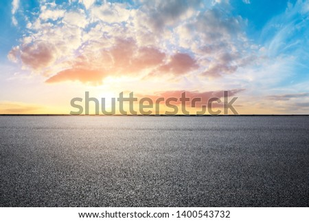Empty road and sky nature landscape at sunrise #1400543732