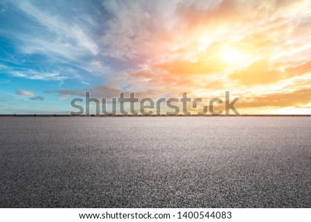 Empty road and sky nature landscape at sunrise #1400544083