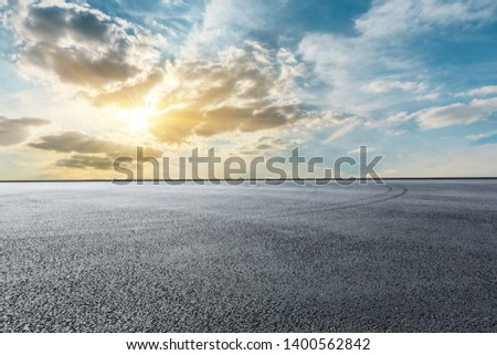 Empty race track and sky nature landscape at sunrise #1400562842