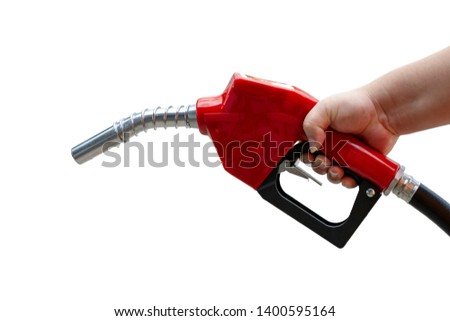 Hand holding red fuel pump nozzle isolated on white background. #1400595164