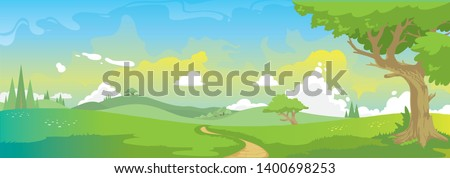 Nature landscape vector illustration. Blue sky with white clouds, nice weather during summer or spring season. The sun is shining, sunset or dawn. Colorful fairytale illustration for children. #1400698253