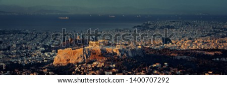 Athens skyline panorama at sunrise viewed from Mt Lykavitos with Acropolis, Greece. #1400707292