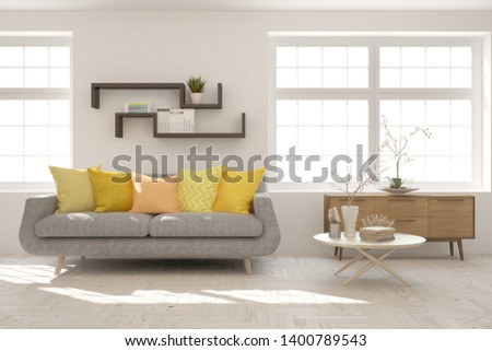 Stylish room in white color with sofa. Scandinavian interior design. 3D illustration #1400789543