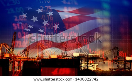 USA America trade war economy conflict tax business finance / united states stock market exchange graph chart money crisis raised taxes on industry container ship in export import logistics #1400822942