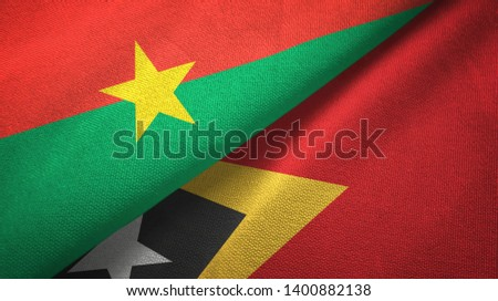Burkina Faso and Timor-Leste East Timor two flags textile cloth, fabric texture #1400882138
