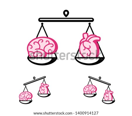 Brain and heart on a pair of scales. Balance between logic and emotion concept. Isolated clip art illustration.