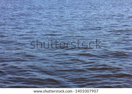 Dark blue water background with ripples and splashes on empty vibrant river surface  #1401007907