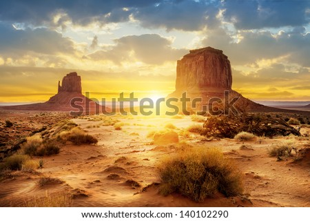 Sunset at the sisters in Monument Valley, USA #140102290