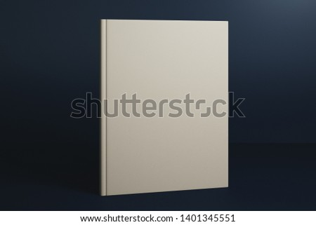 Empty white hardcover book on dark blue background. Mock up, 3D Rendering  #1401345551