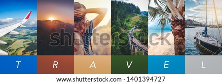 Travel concept background. Summer concept.  Header format with copyspace, vertical stories collection #1401394727