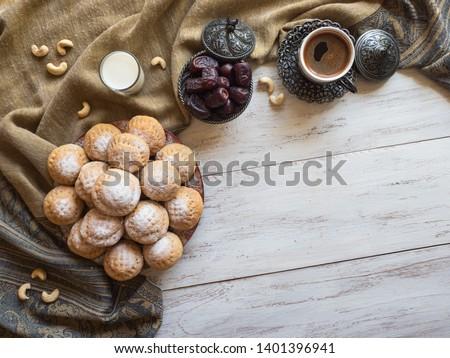 """Ramadan sweets background. Cookies of El Fitr Islamic Feast. Egyptian cookies """"Kahk El Eid""""  #1401396941"""