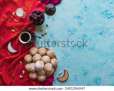 """Ramadan sweets background. Cookies of El Fitr Islamic Feast. Egyptian cookies """"Kahk El Eid""""  #1401396947"""