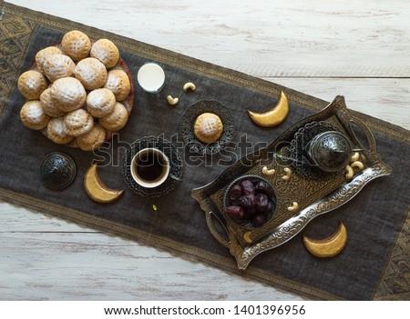 """Ramadan sweets background. Cookies of El Fitr Islamic Feast. Egyptian cookies """"Kahk El Eid""""  #1401396956"""