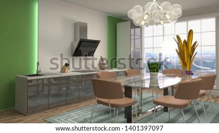 Interior dining area. 3d illustration #1401397097