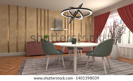 Interior dining area. 3d illustration #1401398039
