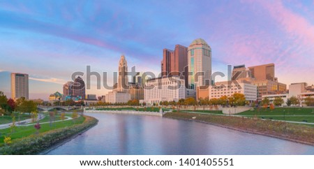View of downtown Columbus Ohio Skyline at twilight in USA