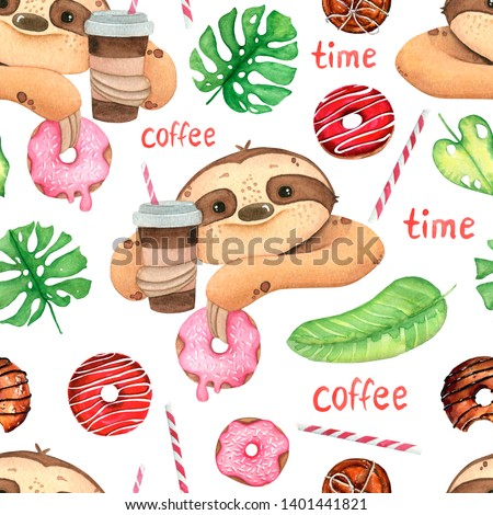 Hand painted watercolor pattern tropical cute animal sloth with donut, coffee and tropical leaves, isolated on white background.