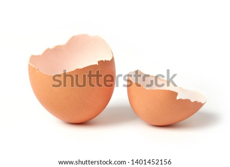 Egg shell isolated on white Royalty-Free Stock Photo #1401452156