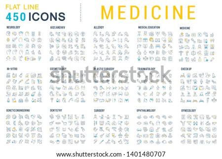 Collection of line icons of medicine. Surgery, dentistry, invitro, aids, cancer, check up, orthodontics, biology, vet, clinic, education. Set of flat signs and symbols for web and apps. #1401480707