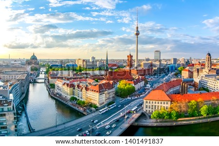 Berlin cityscape with Berlin cathedral and Television tower, Germany #1401491837
