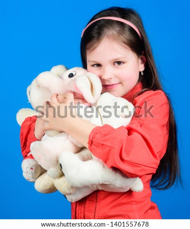 toys for kid. small girl with soft bear toy. little girl playing game in playroom. happy childhood. Birthday. hugging a teddy bear. toy shop. childrens day. Best friend. My funny friend