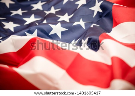 Closeup tars and stripes of United States of America or USA flag. USA are freedom land and independence country. Memorial Day concept. #1401605417
