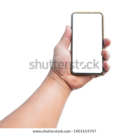 hand man holding mobile phone with blank screen isolated on white background #1401614747