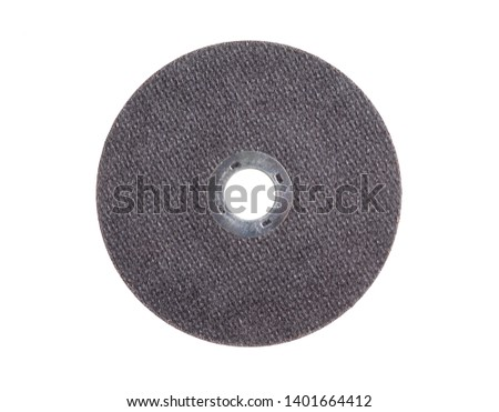 Metal cutting disc use with the angle grinder isolated on white #1401664412
