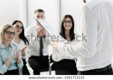 business team asks questions on the briefing in the office #1401753533