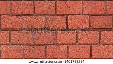Red Brickwork Texture For Background, Seamless Pattern, #1401783284