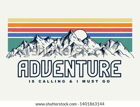 Mountain illustration, outdoor adventure . Vector graphic for t shirt and other uses. Royalty-Free Stock Photo #1401863144