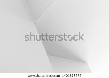Abstract architecture background, white interior design with corners and soft shadows, black and white photo #1401895772