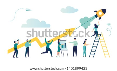 vector illustration a group of people characters are thinking over an idea. prepare a business project start up. rise of the career to success, flat color icons, business analysis vector Royalty-Free Stock Photo #1401899423