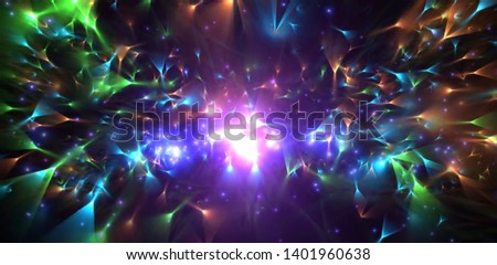Colorful  lines effect on galaxy background - illustration #1401960638