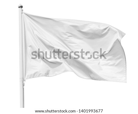 White flag waving in the wind on flagpole, isolated on white background, closeup #1401993677
