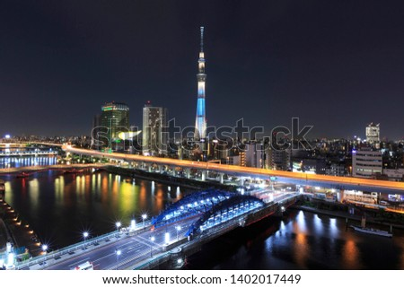 Tokyo, Japan cityscape with the Skytree and water sumida #1402017449