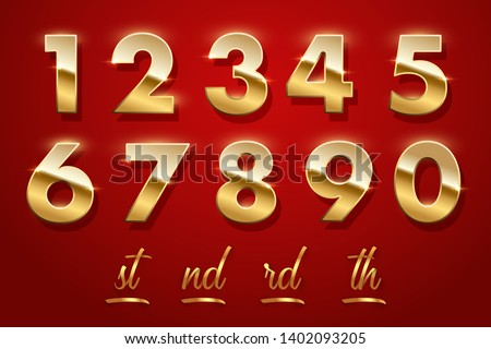 Birthday golden numbers and ending of the words isolated on red background. Vector design elements Royalty-Free Stock Photo #1402093205