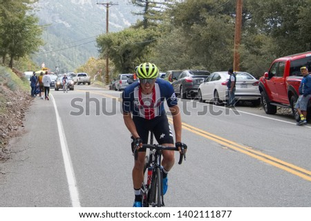 """Mt. Baldy, California / USA - May 17 2019 : The """"Queen Stage"""" of the Amgen Tour of California concluding with a summit finish atop Mount Baldy. The stage deciding the eventual winner of the race. #1402111877"""