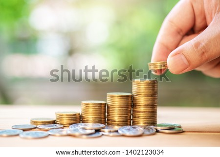 Save money with stack coin for growing your business , money investment concept. #1402123034